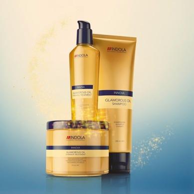 El NUEVO Glamorous Oil de INDOLA se basa en la Tecnología innovadora de Micro-emulsión, que permite añadir una alta concentración de aceites en la fórmula del champú para un brillo increíble y un tacto suave. El innovador Tratamiento de Brillo combina el cuidado de los aceites con destellos dorados de lujo para un brillo luminoso.
